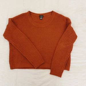 Rue 21 Cropped Long Sleeve Waffle Woven Sweater